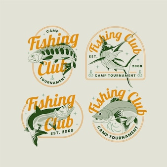 Vintage fishing badge collection