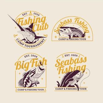 Set distintivo di pesca vintage