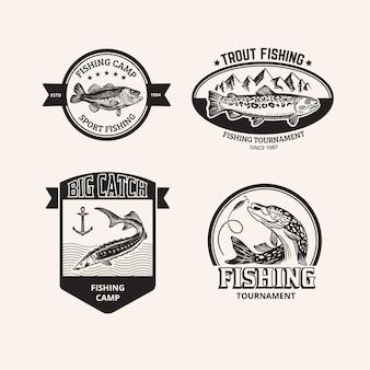 Pacchetto distintivi di pesca vintage