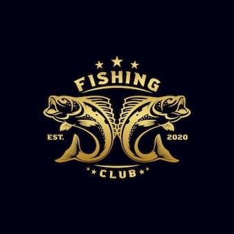 Винтажная рыбалка логотип дизайн иллюстрация