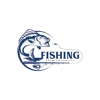 Vintage fishing logo design illustration
