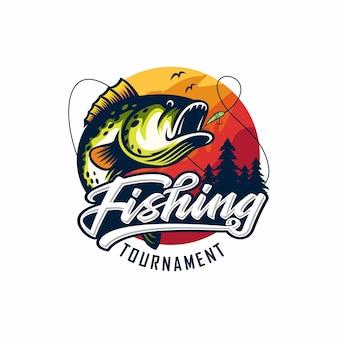 Vintage fishing logo design illustration