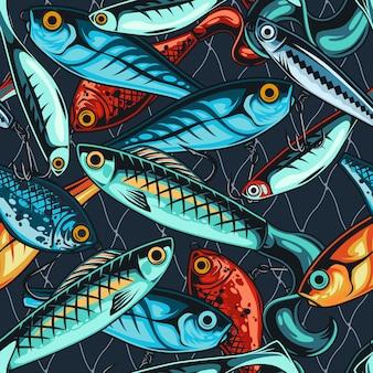 빈티지 낚시는 어부의 인공 액세서리로 매끄러운 패턴을 유인합니다.