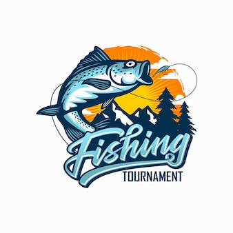 Vintage fishing tournament on white