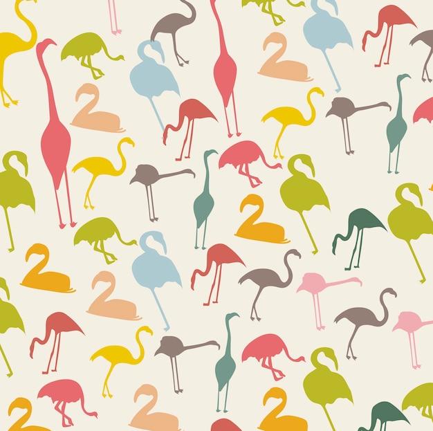 Vintage flamingo over beige background animal