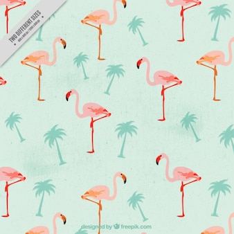 Vintage flamingos with palm trees background