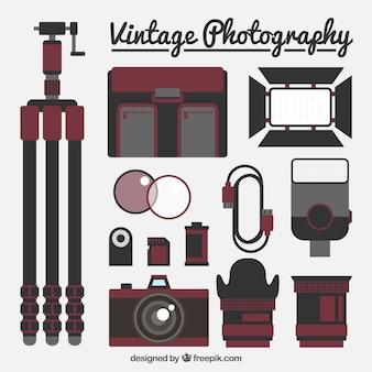 빈티지 평면 사진 장비