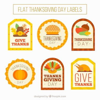 Vintage flat stickers set of thanksgiving