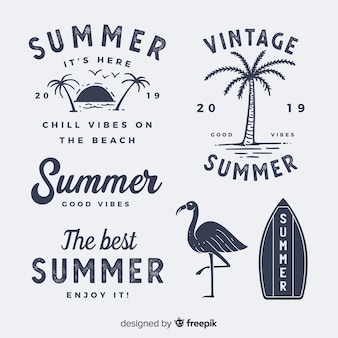Vintage flat summer label collection