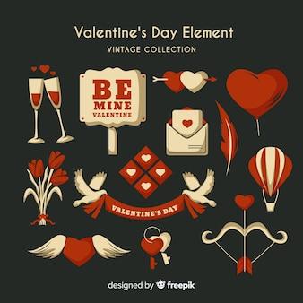 Vintage flat valentine elements pack