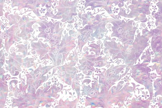 ウィリアムモリスによるアートワークからのヴィンテージフローラホログラフィック背景リミックス