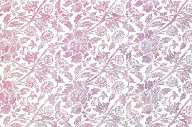 ウィリアム・モリスのアートワークからのヴィンテージ植物のホログラフィック背景リミックス