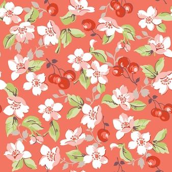 Винтажные цветочные и вишневые бесшовные модели
