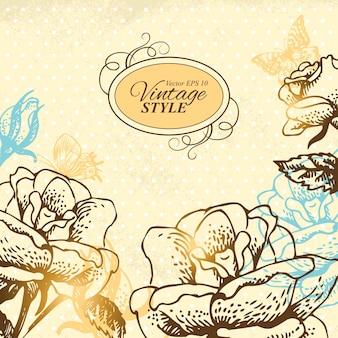 빈티지 꽃 배경입니다. 장미와 나비의 손으로 그린 그림