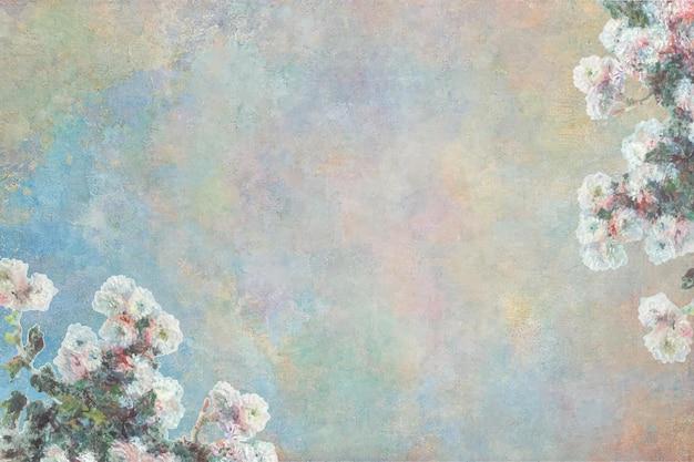 클로드 모네의 작품에서 리믹스된 빈티지 꽃 배경.