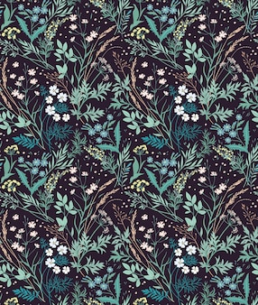 Винтажный цветочный фон. бесшовный фон с мелкими цветочками на черном фоне.