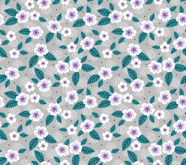 ヴィンテージの花の背景。灰色の背景に小さな花とのシームレスなパターン。