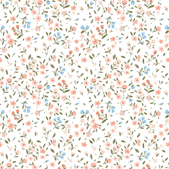 Vintage floral background. seamless  pattern with small flowers on a white background.