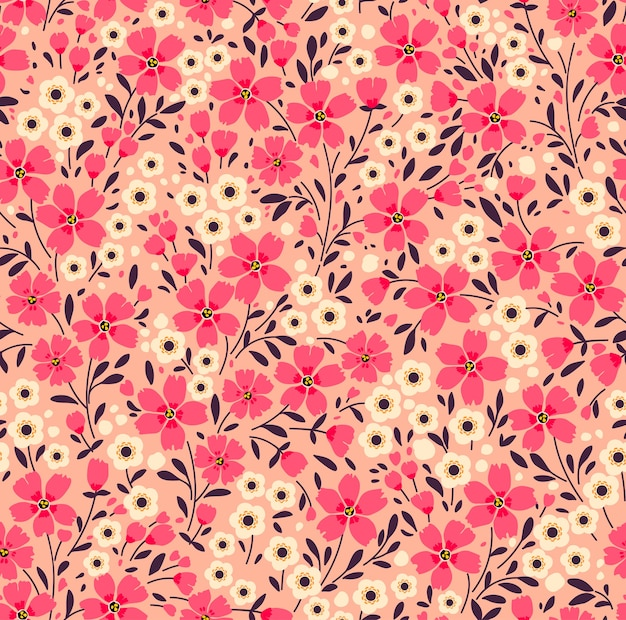 Vintage floral background. seamless  pattern with small pink flowers on a coral background.