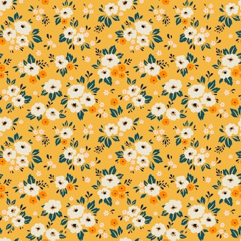 Vintage floral background. seamless  pattern with small white flowers on a yellow background.
