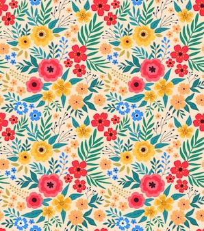 ヴィンテージの花の背景。デザインとファッションのプリントのためのシームレスなベクターパターンe。