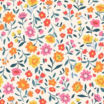 빈티지 꽃 배경 흰색 배경에 작은 꽃과 원활한 벡터 패턴