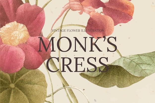 Modello di banner floreale vintage con sfondo di crescione del monaco, remixato da opere d'arte di pubblico dominio