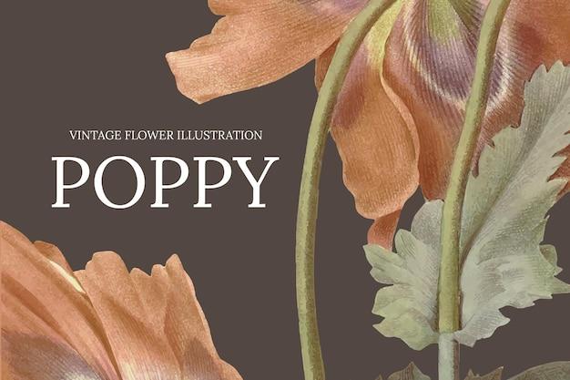 Modello di banner floreale vintage con sfondo di papaveri, remixato da opere d'arte di pubblico dominio