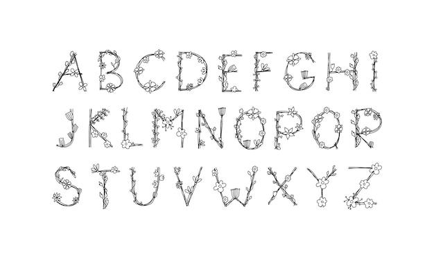 빈티지 꽃 대담한 로고 봄 알파벳입니다. 검은 색과 꽃 손으로 그린 클래식 여름 편지 디자인 벡터 abc.
