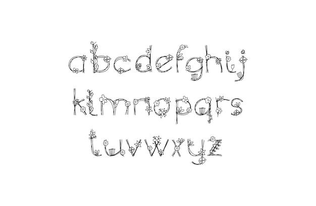 빈티지 꽃 대담한 로고 봄 알파벳입니다. 검은 색과 꽃 손으로 그린 클래식 여름 편지 디자인 벡터 abc