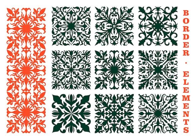 ヴィンテージの花のボーダーは、花のつぼみ、湾曲した葉、巻きひげで構成されるオレンジと緑の花の装飾品で要素をデザインします。装飾、装飾、または中世のデザインとして使用できます