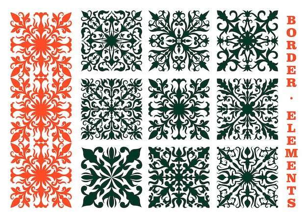 Vintage floral borders design elements with orange and green floral ornaments, composed of flower buds, curved leaves and tendrils. may be use as decoration, embellishment or medieval design