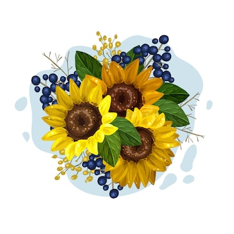 Vintage floral bouquet of beautiful sunflowers