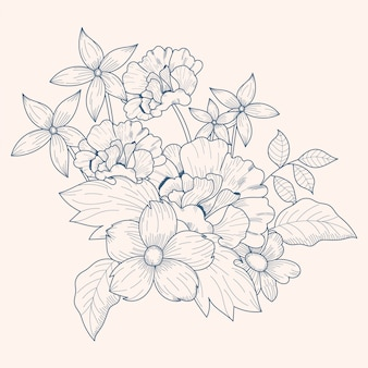 Vintage floral bouquet drawing