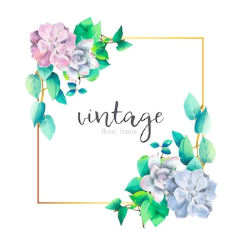 Vintage Floral Bouquets with Golden Frame