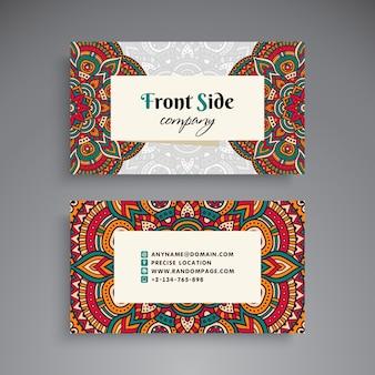 Vintage floral business card with mandala decoration