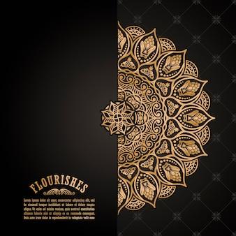 ヴィンテージ花柄カードデザインゴールデンマンダラ