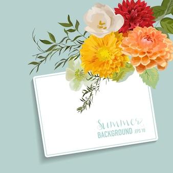 Винтажная цветочная открытка с биркой для вашего текста