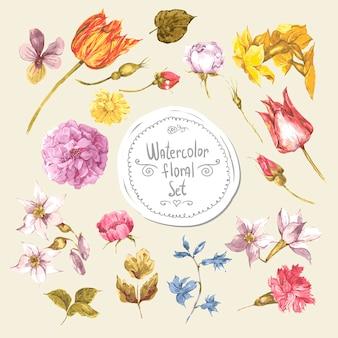 장미와 야생 꽃 빈티지 꽃 카드