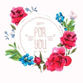 バラと野生の花のヴィンテージの花カード