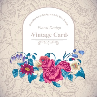 Vintage floral card with roses and wild flowers