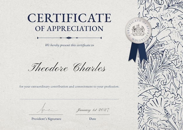 Vintage floral certificate template in classy style