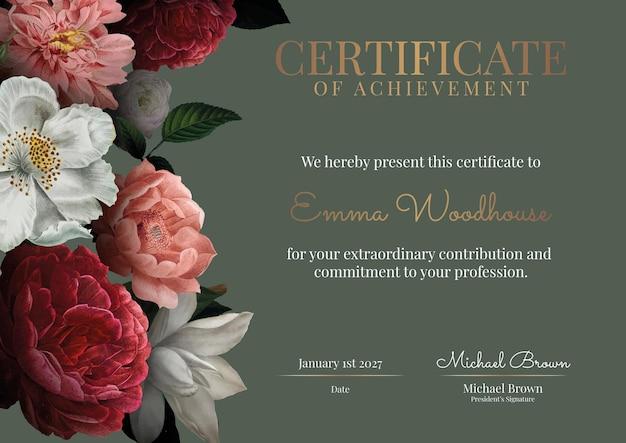 Винтажный цветочный шаблон сертификата в роскошном стиле