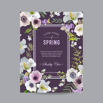 Винтажная цветочная красочная рамка - лилии и анемоны - для приглашения, свадьбы, карты детского душа
