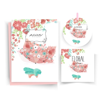 Vintage floral cute animal card in watercolor style.