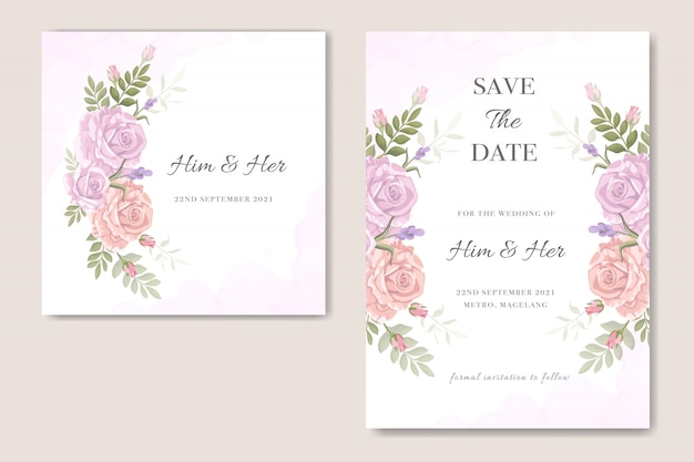 Vintage floral design wedding invitation
