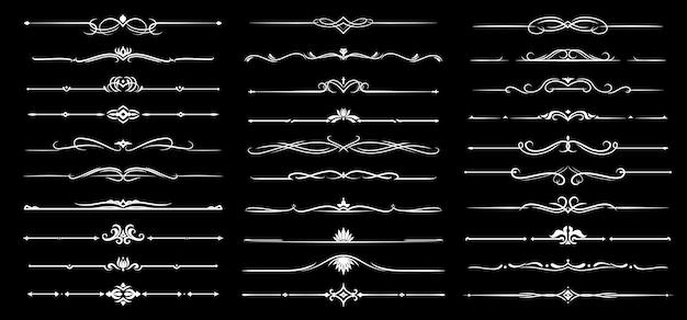 빈티지 꽃 디바이더와 테두리 장식. 청첩장, 휴일 카드 디자인 장식 요소, 직선, 소용돌이 및 곡선, 꽃 패턴 벡터 복고풍 구분 기호