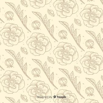 ビンテージ花要素パターン