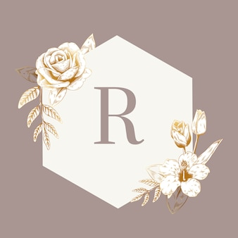 Emblema floreale vintage