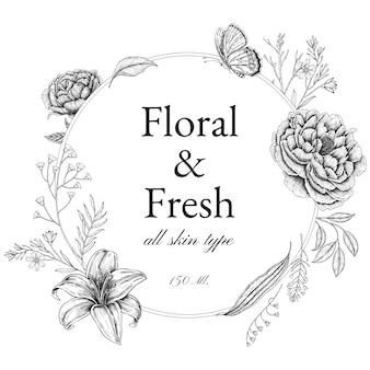 브랜딩, 기업 정체성, 포장 및 제품에 대한 빈티지 꽃 프레임 및 테두리.
